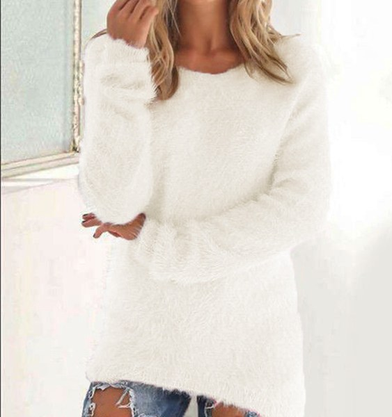 Round Neck Faux Fur Knit Sweater 2