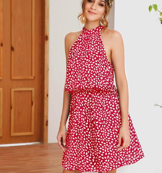 Red Random Heart Printed Halter Knotted Sleeveless Dress 2