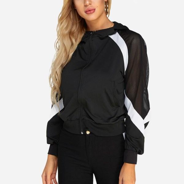 Active Contrast Color Zip Design Mesh Jacket in Black 2