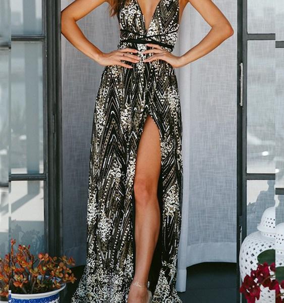 Black Sequins Backless Design Deep V Neck Sleeveless Dress 2