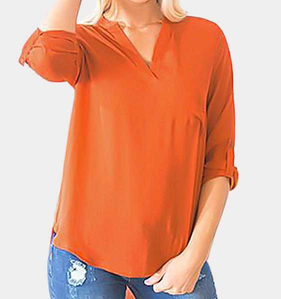 Orange Single Pocket Detail V-neck Curved Hem Chiffon Blouse 2