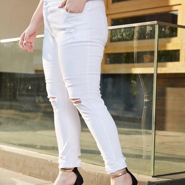Plus Size White Random Ripped Denim Pants 1