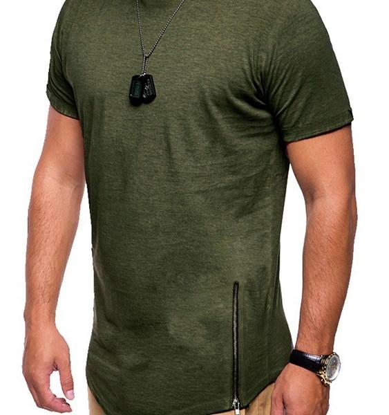 Men Summer Casual Plain Zip Design Round Neck T-Shirt 2