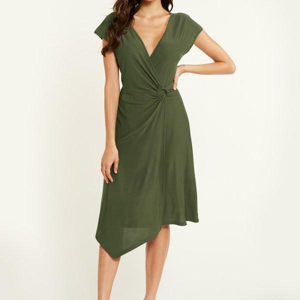 YOINS Army Green Deep V Neck Skinny Dress 2