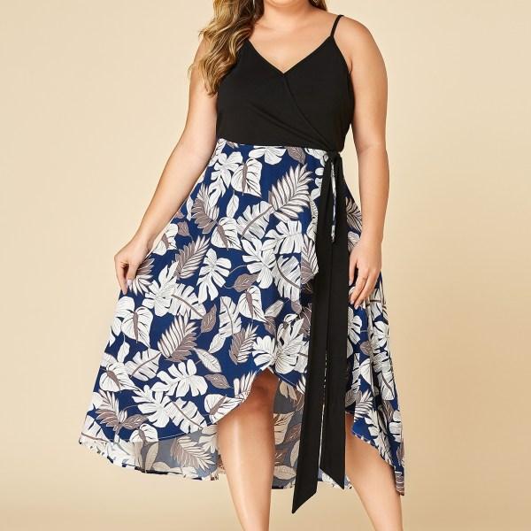 YOINS Plus Size Navy Leaf Print V-neck Ribbon Dress 2