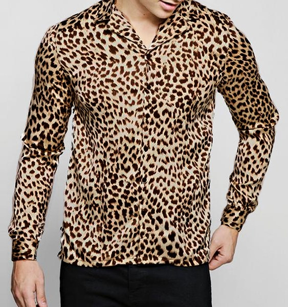 Men Casual Leopard Printed Sexy Slim Fit Long Sleeve Shirt 2