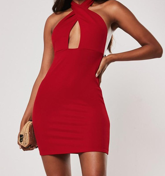 YOINS Red Backless Design Halter Sleeveless Dress 2