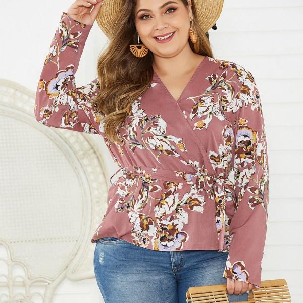 Plus Size Pink With Belt Random Floral Print Blouse 1