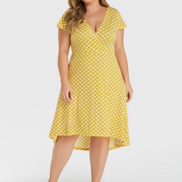 YOINS Plus Size Yellow Polka Dot Deep V Neck Dress 2