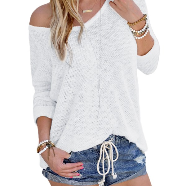 White Sexy V Neck Long Sleeves Knitted T-shirt 2