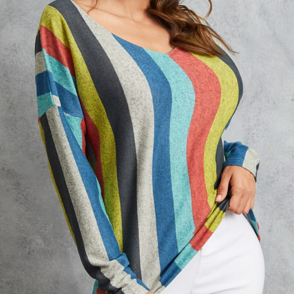 YOINS Multicolor Backless Design Striped Round Neck Long Sleeves Tee 1