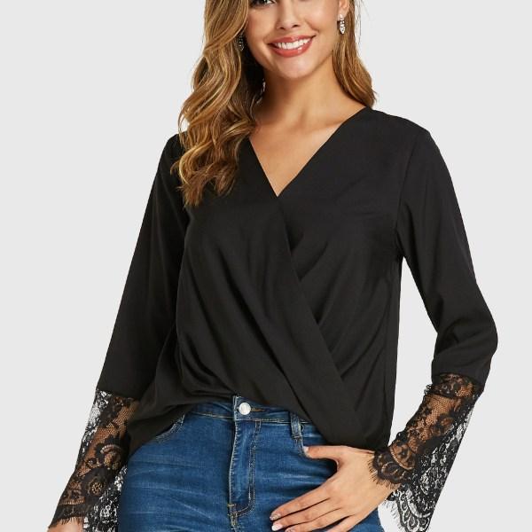 YOINS Black Crossed Front Design V Neck Long Sleeves Blouse 2