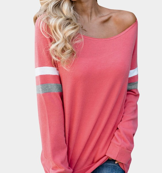 Watermelon Red Stripe Round Neck Long Sleeves Tee 2