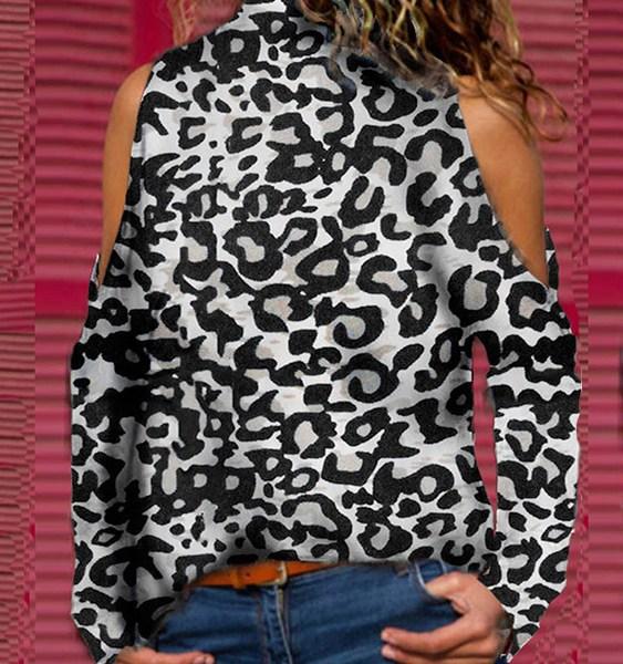 Grey Leopard Cold Shoulder Long Sleeves Tee 2