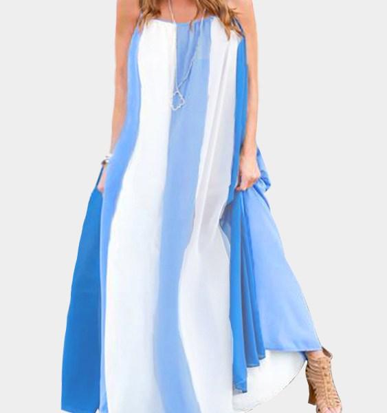 Vacation Stripe Pattern Maxi Dress 2