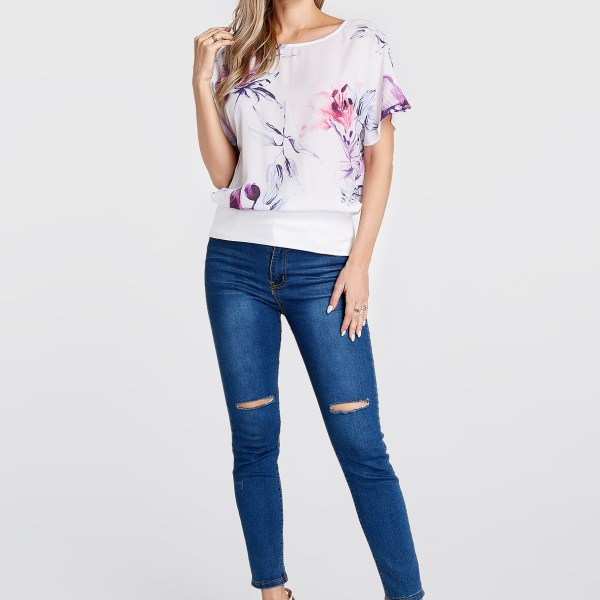 White Random Floral Print Round Neck Short Sleeves Blouse 2