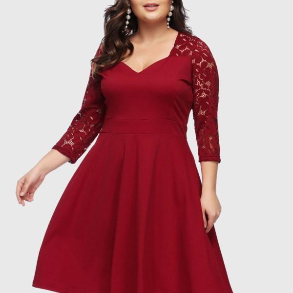 Plus Size Burgundy Lace V-neck Dress 2