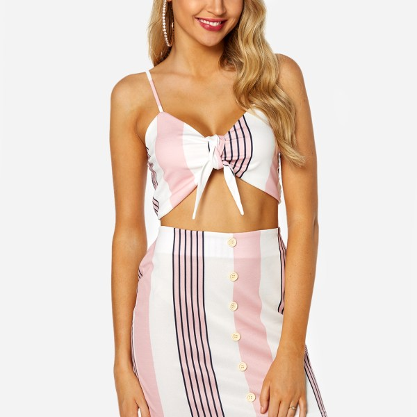 Pink Self-tie Design Top & Button Embellished Skirt Two Piece Outfits 2