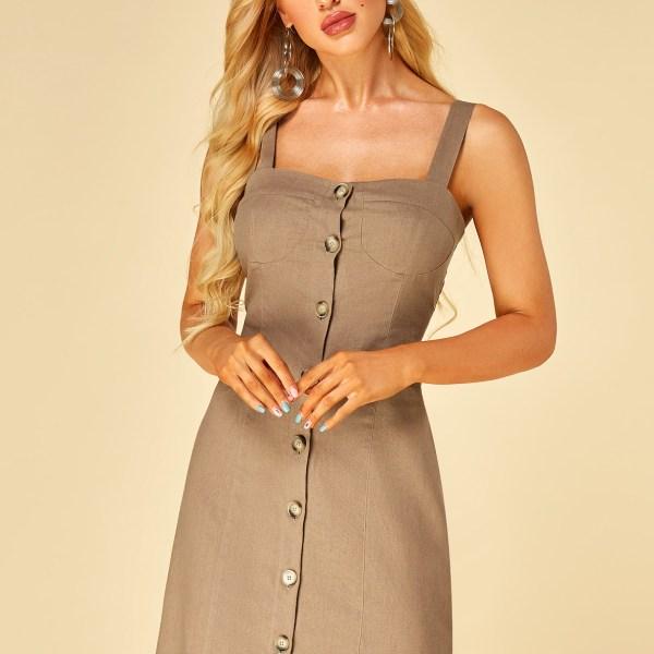YOINS Khaki Button Design Square Neck Sleeveless Dress 2
