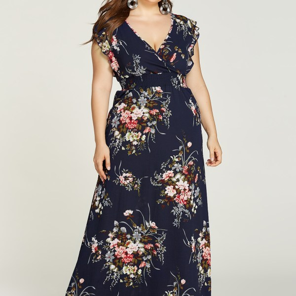 Plus Size Random Floral Print Middle-Waisted Dress 2