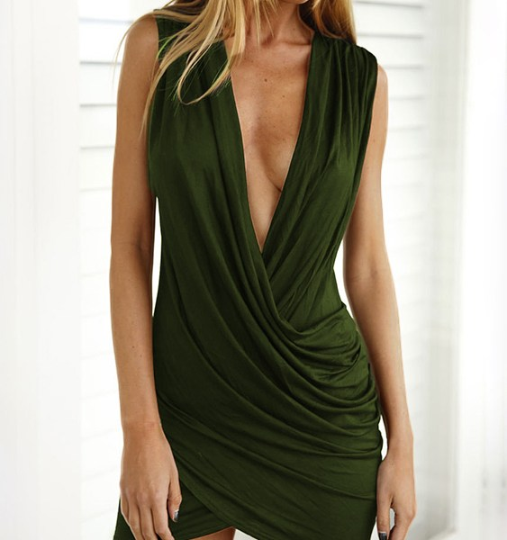 Army Green Crossed Front Design Pleated V-neck Sleeveless Sexy Dress 2