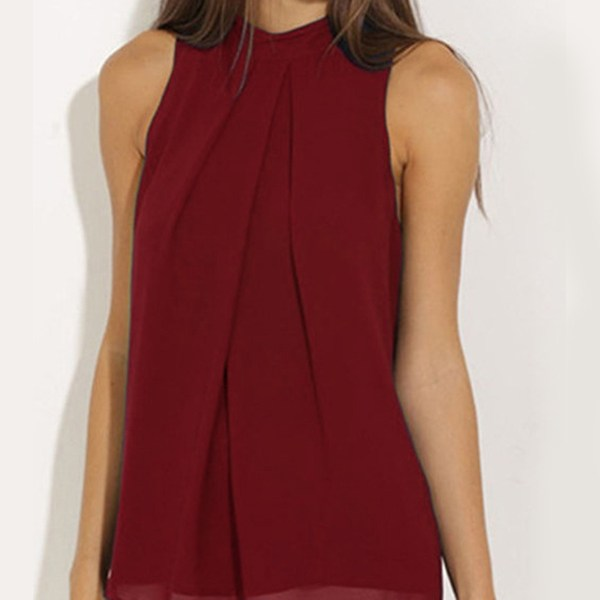 Burgundy High Neck Open Back Pleated Chiffon Tank Top 2