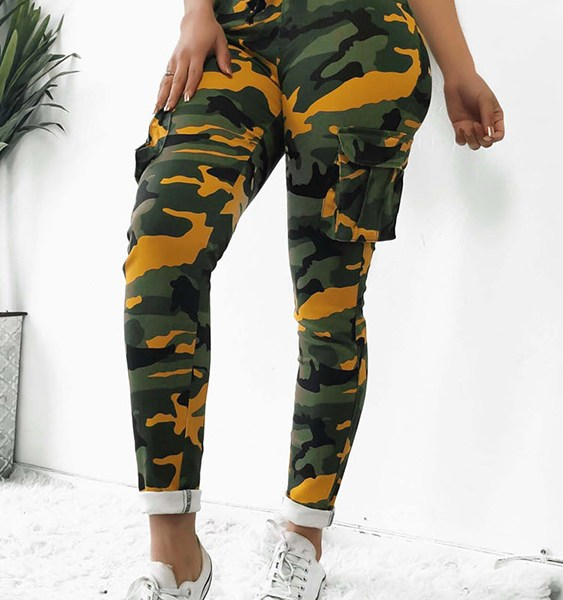 Yellow Two Large Pockets Camo Drawstring Waist Pants 1