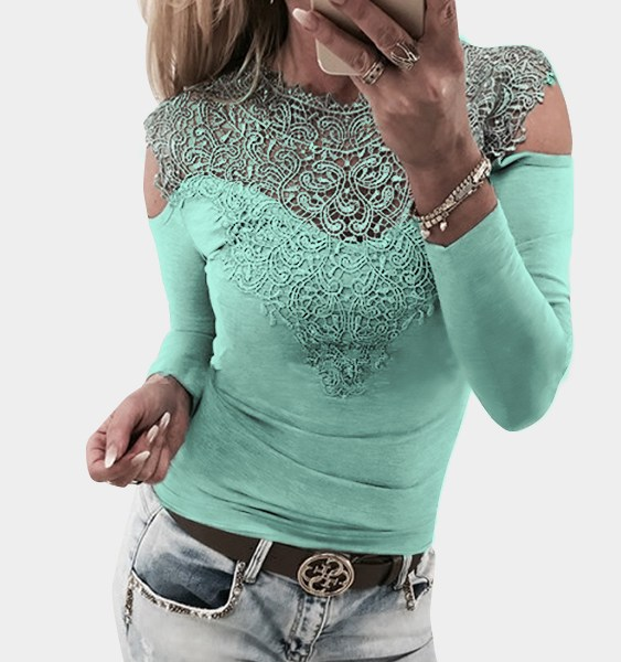 Light Green Lace Insert Cold Shoulder Long Sleeves Causal T-shirt 2