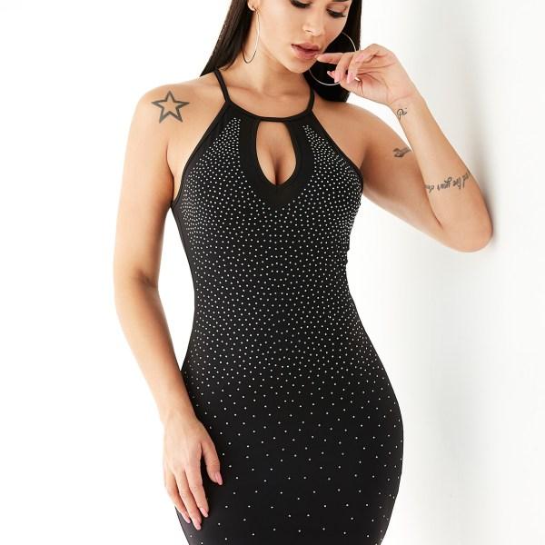 YOINS Black Halter Cut Out Rhinestone Embellished Dress 2