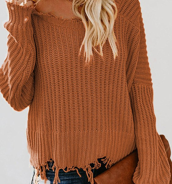 Brown Deep V Neck Ripped Sweater 1