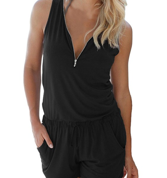 Auxo V-neck Zip Design Pleated Sleeveless Playsuits 2