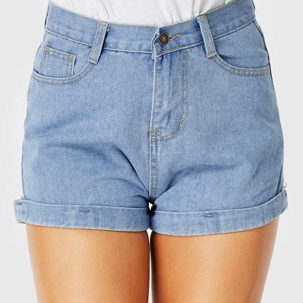 Light Blue Denim Button Pockets Zip Design Shorts 2