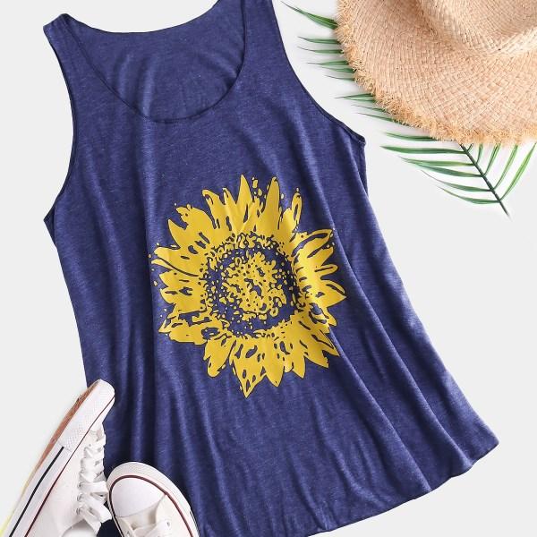 Blue Sunflower Print Round Neck Tank Top 2