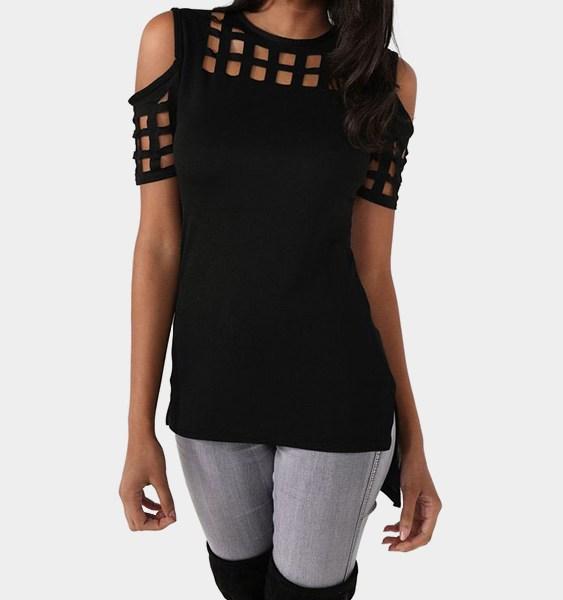 Black Cold Shoulder Cut Out Hollow T-shirts 2