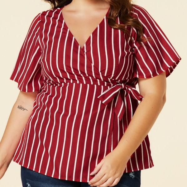 YOINS Plus Size Red Stripe Belt Design Short Sleeves Blouse 2