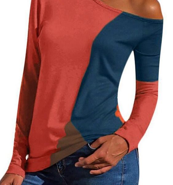 Red Color Block One Shoulder Long Sleeves Tee 2