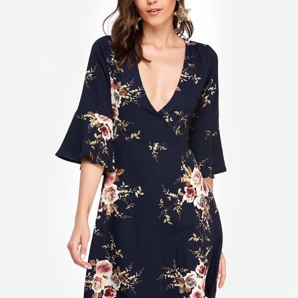 Navy Random Floral Print Crossed Collar Bell Sleeves Dress with Zip Design 2