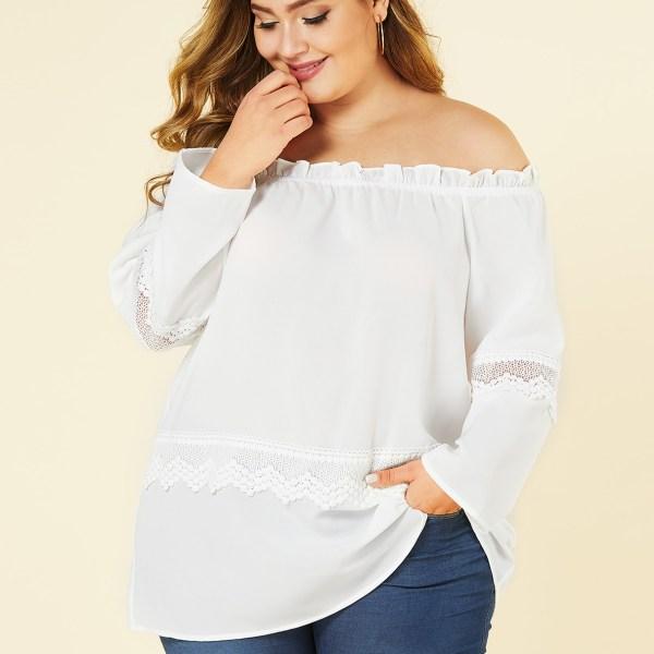 YOINS Plus Size White Hollow Design Off The Shoulder Blouse 2