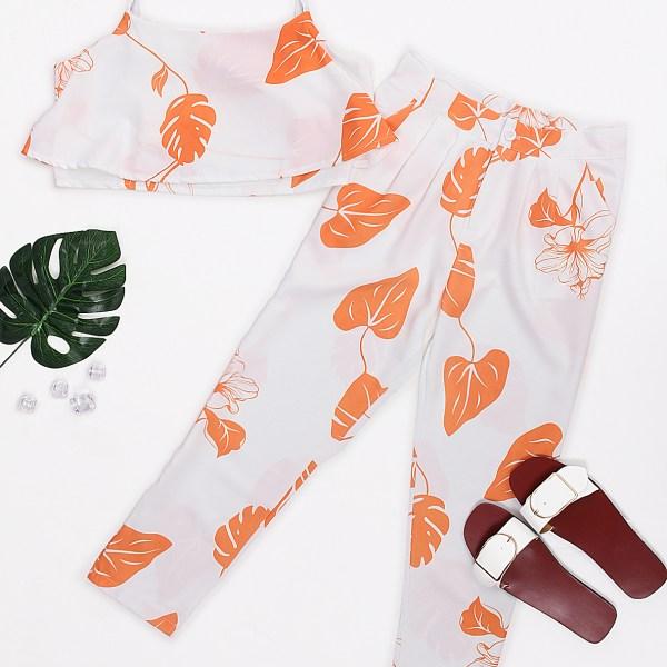 Orange Random Leaf Print Crop Top & Pants Suits 2