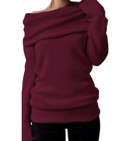 Style Dome One Shoulder Overlay Long Sleeves Sweater 2