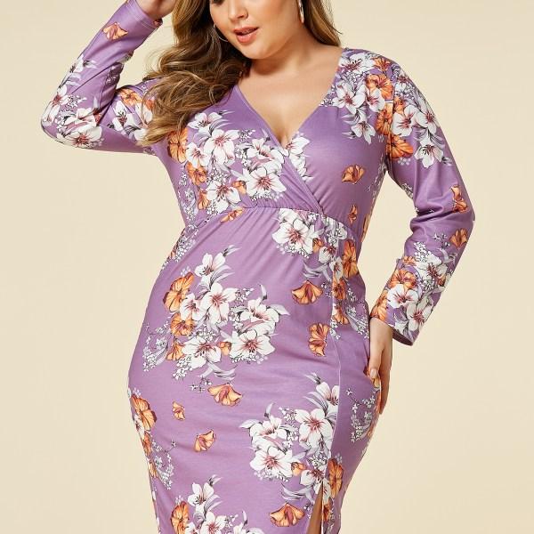 YOINS Plus Size Purple Random Floral Print Crossed Front Dress 2
