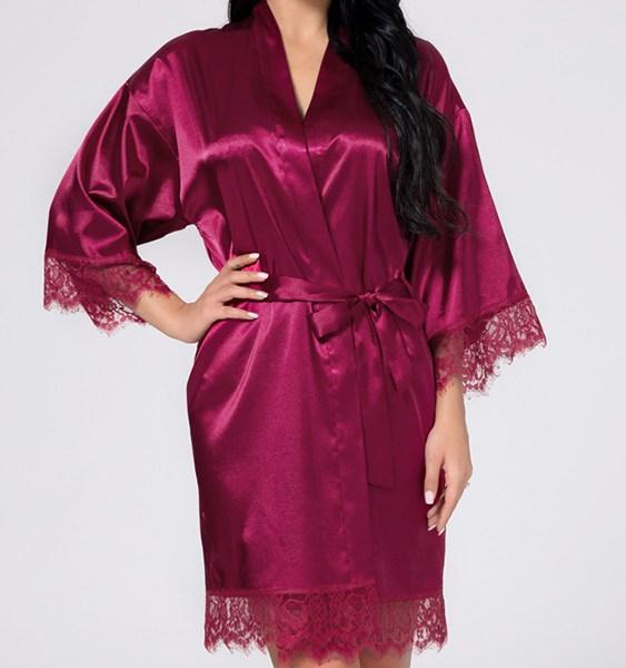 Burgundy Satin Like Lace trims Robe Pajamas 2