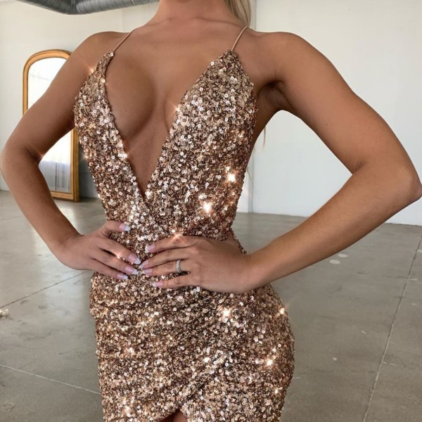 Gold Sequins Backless Wrap Slit Design Deep V Neck Sleeveless Dress 2