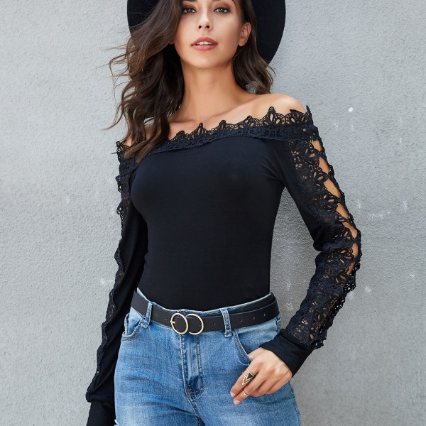 Black Crochet Lace Off The Shoulder Long Sleeves Tee 2
