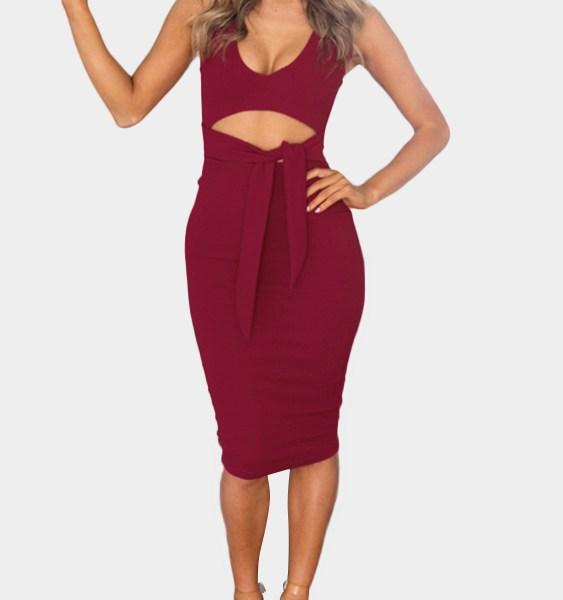 Bodycon Low V-neck Cutout Waist Midi Dress in Burgundy 2