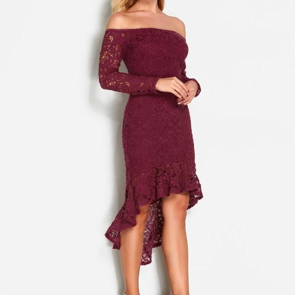 Burgundy Lace Off Shoulder Fashion Party Dress 2