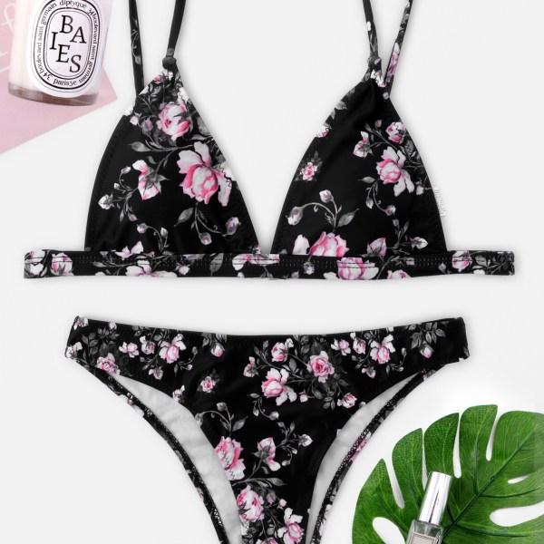 Black Calico V-neck String Bikini 1