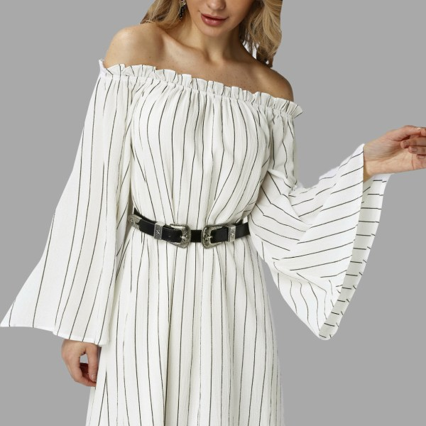 Off shoulder Stripe Bell Sleeves Mini Dress 2