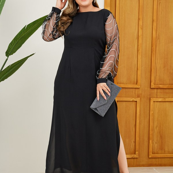 YOINS Plus Size Black Backless Design Patchwork Dress 2
