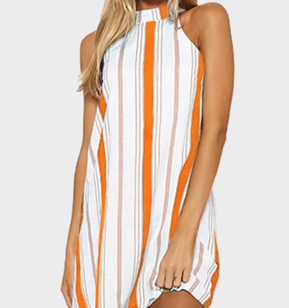 Orange Stripe Halter Neck Mini Dress 2